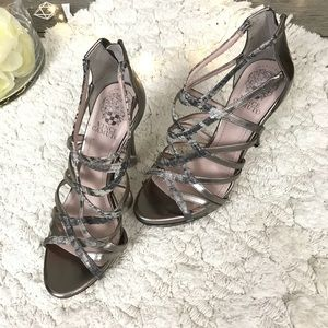 Vince camuto Pewter Snake Print strappy Sandals